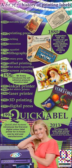 An Infographic on the History of Printing Labels - The infographic below is presented by quicklabel.co.uk that reveals the brief history of printing labels. For more details, log on to http://www.quicklabel.co.uk/images/infographics/images.html
