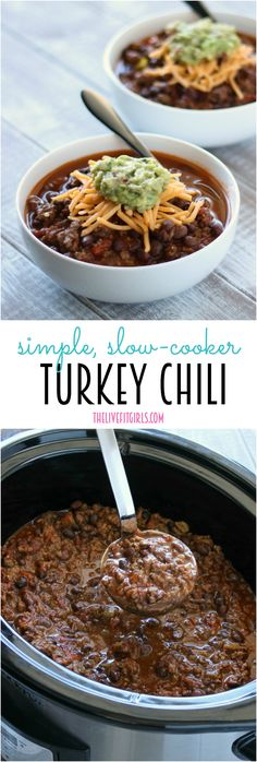 Turkey Chili doesn't get any easier than this! This slow-cooker recipe is so simple and you'll love coming home after work to dinner already cooked!