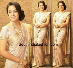 jyothika in pearl work saree