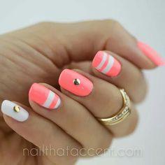 White and neon pink stripe nailart #nailart @Jenniferw
