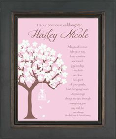 This unique GODDAUGHTER Print Wall Sign is the perfect gift! She will cherish it for many years to come and will remind her of how special you Goddaughter Gifts, Godchild, First Communion Gifts, First Holy Communion, Communion Cakes, Baptism Party, Baptism Gifts, Party Hacks, Party Ideas