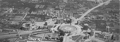 ¡Ay, Murcia! Junto al borde inferior, la Cárcel; sobre ella, la estación de Mula-Caravaca (foto c.1960)