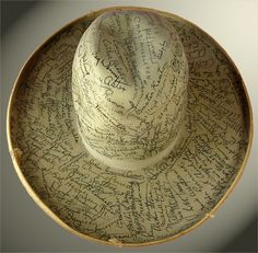 A Stetson signed by Old Hollywood, including Clark Gable, Charlie Chaplin, Jean Harlow, John Barrymore,   Bing Crosby, Mary Pickford, Gloria Swanson, Gary Cooper, Joan Crawford, Irene Dunne, Spencer Tracy, Jack Benny, Will Rogers, Lon Chaney, Joan Blondell, Jeanette MacDonald, Robert Montgomery, Dick Powell, Myrna Loy, Shirley Temple, Jimmy Durante, Mary Astor, Boris Karloff, Buster Keaton, Fay Wray, Stan Laurel, Oliver Hardy, George Burns, and Mickey Rooney. #hats #stetson #vintage…