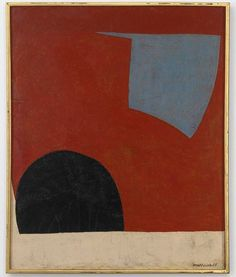 """amare-habeo: """" Serge Poliakoff (Russian-French, Blue form on the red background, 1950 Oil on canvas, 100 x 81 cm """" Modern Art, Contemporary Art, Minimalist Art, Art Plastique, Oeuvre D'art, Painting Inspiration, Art Images, Collage Art, New Art"""