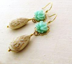Mint Green Flower Earrings Ornate Teardrop Earrings Etched Earrings Wedding Jewelry Drop Earrings Metallic Gold  - Ariana. $24.00, via Etsy.