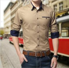 Plus Size Men Shirts Long Sleeve Lapel Casual Shirt Slim Fit Brand Design in Clothing, Shoes & Accessories, Men's Clothing, Casual Shirts Cotton Shirts For Men, Casual Shirts For Men, Men Casual, Men Shirts, Mens Designer Shirts, African Clothing For Men, Man Dressing Style, Indian Men Fashion, Mens Attire