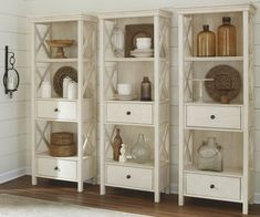 Signature Design By Ashley - Bolanburg Curio Cabinet - 2 Drawers and 3 Shelves - Casual Style - Antique White Upholstered Dining Bench, Furniture, Signature Design By Ashley, Cabinet Drawers, Ashley Furniture, Cabinet, Room Display, Display Cabinet, Grey Display Cabinets