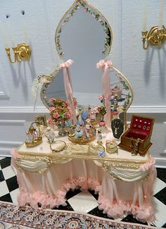 Dollhouse Miniature - IGMA Artisan Judee Williamson Vanity with Jewelry Accessories