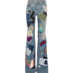 Roberto CavalliEmbellished High-rise Flared Jeans (€5.440) ❤ liked on Polyvore featuring jeans, mid denim, flared jeans, patchwork jeans, flare jeans, blue jeans and high waisted jeans