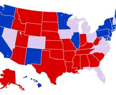 US Presidential Election If Electoral Votes Per State Were - Map of red and blue states