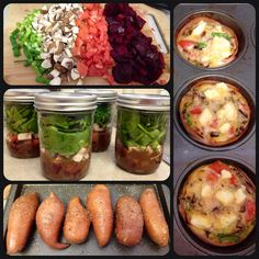 Paleo food prep: spinach mason jar salads, just add grilled chicken; baked sweet potatoes; 'egg muffin' breakfast use deli meat as cup and pour omelet mix in to bake