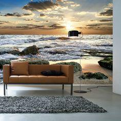 papier peint trompe l'oeil dans le salon, canapé marron en cuir, sol en lino gris, canapé beige, stickers trompe l'oeil