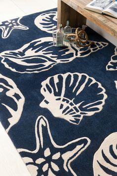 Lido Key Shells Area Rug   Cobalt Blue