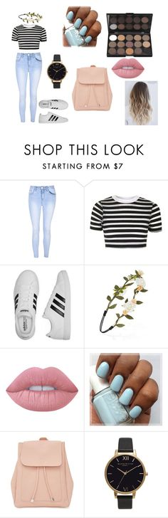"""""""Teen"""" by puddles-6 ❤ liked on Polyvore featuring Glamorous, Topshop, adidas, Forever 21, Lime Crime, New Look and Olivia Burton"""