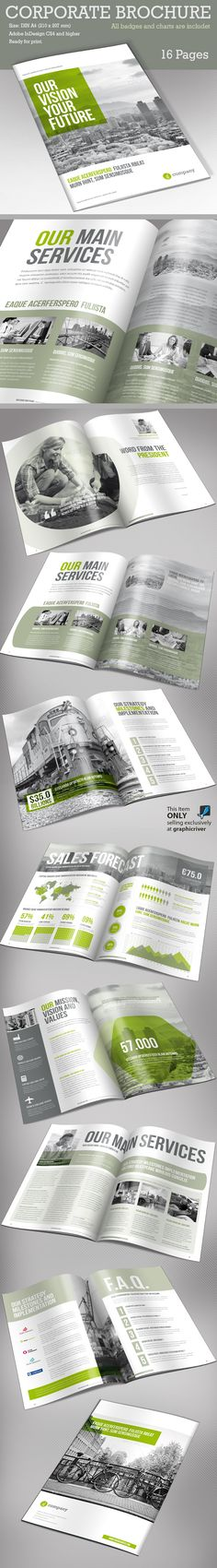 Buy Corporate Brochure Vol 2 by Paulnomade on GraphicRiver. Corporate Brochure – and US Letter. This is a modern and powerful template for a Brochure. Design Typo, Web Design, Typography Design, Layout Design, Print Design, Graphic Design Brochure, Brochure Layout, Brochure Template, Corporate Brochure Design