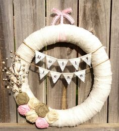 "18"" New Baby Girl Wreath, Nursery, Baby Shower, Hospital, Delivery, Door/Wall Decor, Wedding Wreath, Shabby Chic: Pink, Sage, Champagne. $60.00, via Etsy. by daphne"