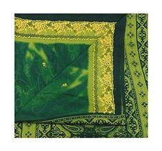 Vintage Sari Indian Women Wrap Dress Cotton Silk Material DIY Recycled Fabric Saree Used Curtain Drape 5Yd Green Art Decor