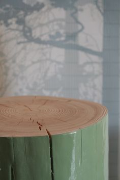 modern rustic tree stump table with high gloss paint