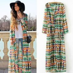 Bohemia Tie Dye Deep Printing Button Up Cardigan Long Sleeve Maxi Mini Dress | eBay