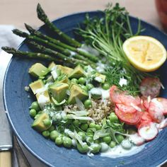 Spring Abundance Bowl: Quinoa, Peas, Avocado & Pickled Radishes (use vegan yogurt in dressing).