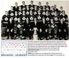 1967 Toronto Maple Leafs. This was the last time they won the Stanley Cup.(the Harold Ballard curse)