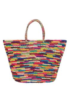 Sensi Rain Medium Basket: A multi-colored woven straw tote with a structured look. Unlined interior. Double ...