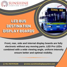 Get rid of old and rusty bus route boards by installing the fully electronic display boards with wide viewing angle, efficient operation and better visibility with uniform intensity. Led Display Board, Video Wall, Ambient Light, Conductors, User Interface, Communication, Console, Conditioner, The Unit