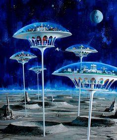 Moon Colonies by Myriac illustrated by John Berkey  #MoonColonies  #LunarColony  #JohnBerkey