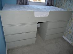 Ikea Malm drawers hack, turning from drawers into a raised single bed. Spray painted with Valspar spray paint.