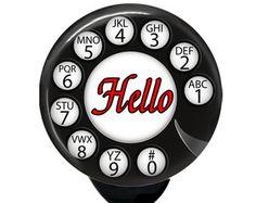 Retractable Badge Reel: Retro phone dial HELLO !