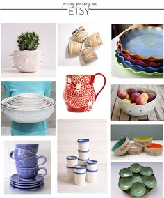 pottery, shop, mugs, bowls, for the dog, gift, coffee, entertaining, planter, pies, fruit, pitcher @etsy
