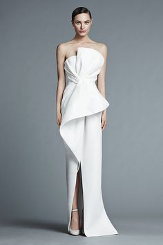 J.Mendel Micheline Silk strapless asymmetrical draped bustier gown