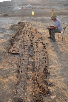 #artauth A team from the French Institute of Oriental Archaeology excavating the ancient site of Abu Rawash 15 miles northwest of Cairo has unearthed the remains of a solar boat dating to the reign of the First Dynasty pharaoh Den (ca. 2975–2935 B.C.). The boat is nearly intact, composed of 11 planks of local wood 20 feet long and five feet wide. The wood is in good condition, thanks to the preservation power of the dry desert environment.