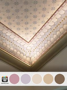 A beautiful #palette inspired by a hand painted ceiling in Italy. I love the sweet #colors! #amywax #Color911 Find colors to inspire you: www.Color911.com