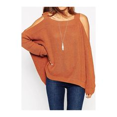 Rotita Cold Shoulder Brown Asymmetric Pullover Sweater (165 DKK) ❤ liked on Polyvore featuring tops, sweaters, brown, long sleeve pullover, pullover sweater, open shoulder top, long sleeve sweaters and brown tops