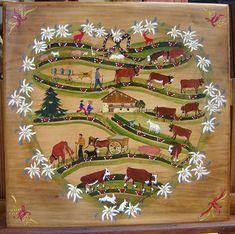 Kitsch, Alpine Flowers, Alpine Style, Stuttgart Germany, Swiss Design, Country Style Homes, Naive Art, Alsace, Folk Art