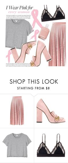 """Untitled #681"" by ladybow ❤ liked on Polyvore featuring Topshop, Gucci, Monki, LoveStories, Chanel and IWearPinkFor"