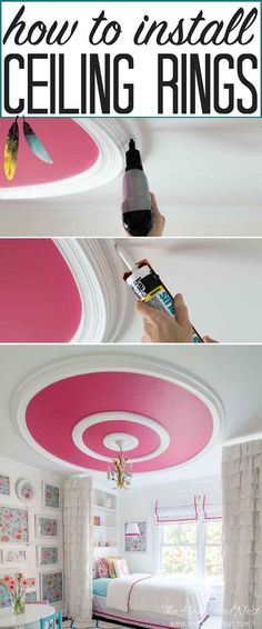 GREAT tutorial and ceiling design ideas!! How to install ceiling rings, or round ceiling molding for a high end look on a small budget!