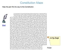 CONSTITUTION DAY PRINTABLE~  Students must get through the maze to help the pen…