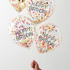 Happy Birthday Rainbow Confetti Balloons (Pk5)