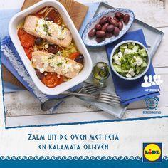Heerlijk Grieks recept voor zalm uit de oven met feta en Kalamata olijven #Lidl #Griekenland