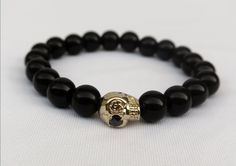 Men's Skull Face with Black Stone Bracelet  Gold by 0kleineliebe0, $29.99