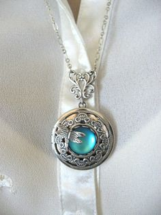 Dragonfly Locket Silver Locket Dragonfly Jewelry by CharmedValley