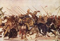 Mosaic de la Batalla d'Issos (100 aC), de la Casa del Faune de Pompeia potser d'un original de Philoxenus de Eretria al segle IV abans de Crist (Nàpols, Museu Arqueològic)