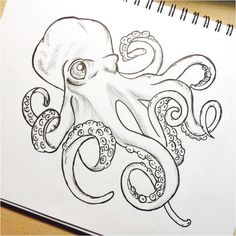 Niedliche Cartoon-Krake - Octopus Tattoo - Garden Pot Design - DIY Bathroom - Hairstyle For School - Ideas DIY Jewelry Octopus Drawing, Octopus Tattoo Design, Octopus Tattoos, Octopus Sketch, Octopus Octopus, Octopus Painting, How To Draw Octopus, Cute Octopus Tattoo, Squid Drawing