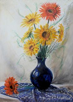 """""""Gerberas in blue vase"""" Painting by Éva Lövei posters, art prints, canvas prints, greeting cards or gallery prints. Find more Painting art prints and posters in the ARTFLAKES shop. Large Prints, Framed Prints, Canvas Prints, Tag Art, Photographic Prints, Art Boards, Wall Tapestry, Decorative Throw Pillows, Vase"""