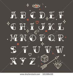 Vintage Advertising Hand Lettering | condensed letters alphabet. Old school tattoo elements. Tattoo letters ...
