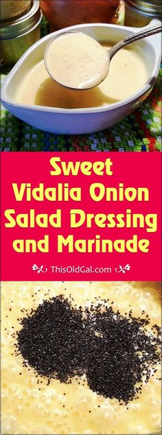 Sweet Vidalia Onion Salad Dressing Marinade is a great way to dress up salads a. - Sweet Vidalia Onion Salad Dressing Marinade is a great way to dress up salads a… – # - Vidalia Onion Dressing Recipe, Vidalia Onion Recipes, Sweet Onion Sauce, Vidalia Onions, Recipe For Sweet Onion Dressing, Chutney, Sauce Barbecue, Salad Dressing Recipes, Salad Dressings