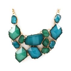 Teal Josephine Statement Necklace | Emma Stine Jewelry Necklaces ❤ liked on Polyvore