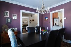 "Dining room in ""Plum"" deep violet interior paint color from Behr."